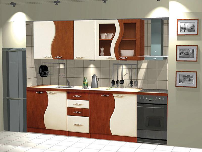 FALA kuchyňa 240, hruška/vanilka. Moderné prevedenie cenovo dostupnej kuchynskej linky vhodnej do panelákových bytov. Zostava sa skladá zo skriniek (rozmery sú uvedené v poradí šírka x hĺbka x výška): závesné skrinky W80/80x30x72cm; W40p-l/40x30x72cm; W60/80x30x72cm; digestorová skrinka W060/60x30x30cm. Dolné skrinky - drezová skrinka D80zl/80x44x82cm; D60/60x44x82cm; zásuvková skrinka D40s4/40x44x82cm. Obrázok je ilustratívny.  Kuchyňa nemá závesnú lištu na stenu v cene, je ju potrebné dokúpiť. Nájdete ju v doporučených produktoch. Cena: 299.9000 EUR
