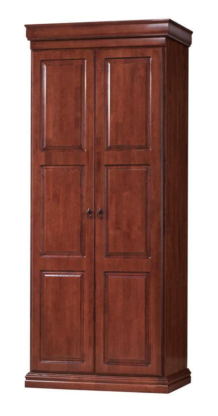 Štýlová šatníková skriňa B2D dvojdverová. Vo vnútri skrine sa nachádza vešiaková tyč. Materiál skrine MDF a prírodné malajzíjske drevo. Príjemný hrejivý odtieň čerešňa antická. Rozmer skrine (v/š/h) 216 x 95 x 57 cm. Dodávame v demonte. Cena: 448 EUR