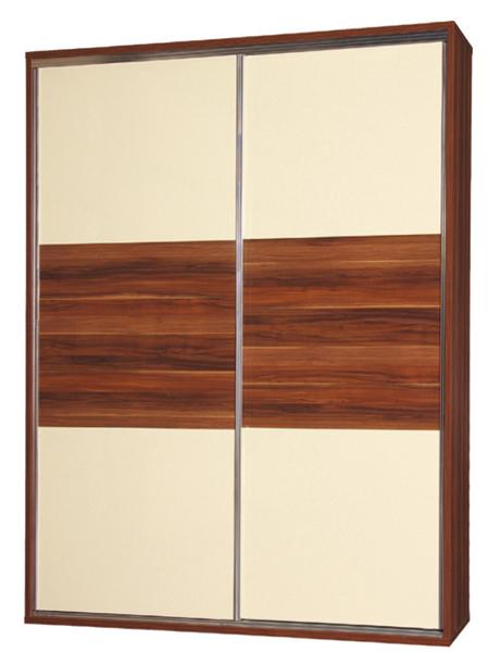 BIANCA kombinovaná skriňa SZF.W2DP. Vhodný doplnok - osvetlenie. Havana/vanilka lesk. Pútavý spálňový nábytok s posuvnými dverami na skriniach, možnosťou ich osvetlenia a jemných chrómovaným kovaním. Vo vnútri je skriňa vybaveniá vešiakovou tyčou, 8 vnútorným zásuvkami a 9 policami. Rozmer (v/š/h) 221 x 200 x 60 cm. Materiál kvalitná  LTD doska. Spálňový nábytok Bianca zaujme atraktívnou farebnou kombináciou odtieňu havana a predné časti nábytku sú v lesku vanilka. Cena: 614 EUR