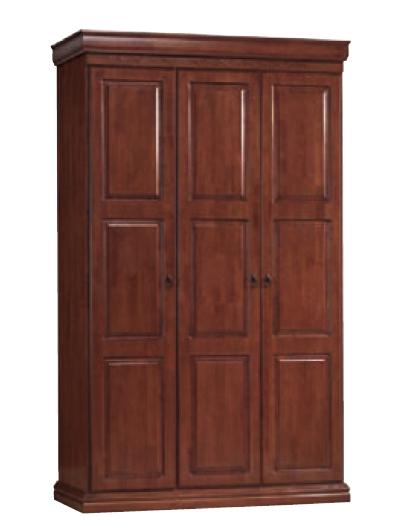 B3D šatná skriňa 3-dverová, čerešňa antická.Úchytky kov. Vyrobená je z kvalitného dreva vo farbe antická čerešňa. Vďaka svojmu vzhľadu s nádychom klasiky sa dobre hodí ku spálňovým zostavám ako Bonton, Toscania alebo ku posteliam Venecja, Verona, Atlanta, Amsterdam a pod., viď Odporúčania. Cena: 528 EUR