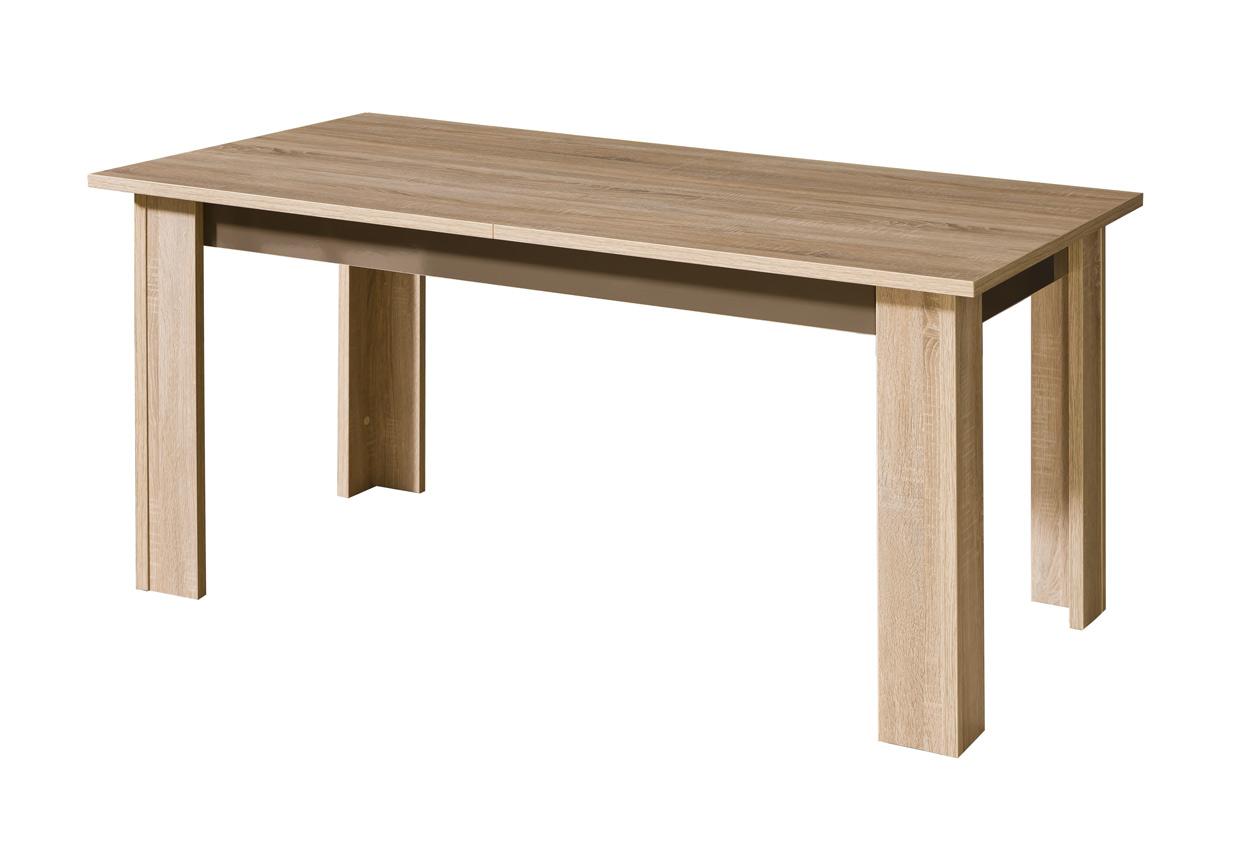 Jednoduchý stôl do jedálne C11 z radu sektorového nábytku CARMEN. Stôl je možné rozložiť, rozšírenie až o 50 cm. Korpus nábytku je v modernej farbe dub sonoma, kontrastne doplnený farebnými prvkami, tri atraktívne lesklé farby na výber: biela, latte, arusha. Rozmer (v/š/h)  77 x 160-210 x 90 cm. Nábytok je vyrobený z LTD dosky, ktorá sa ľahko udržuje. Dodávame v demonte. Jedinečná rada nábytku CARMEN so zaujímavými farebnými kombináciami dodá Vašej domácnosti či kancelárii moderný vzhľad. Z ponuky 23 elementov si môžete vybrať komody, skrine, stolíky, stoličky či vitríny. Navyše je nábytok dostupný v modernom leskom či praktickom matnom prevedení. Cena: 111.6000 EUR