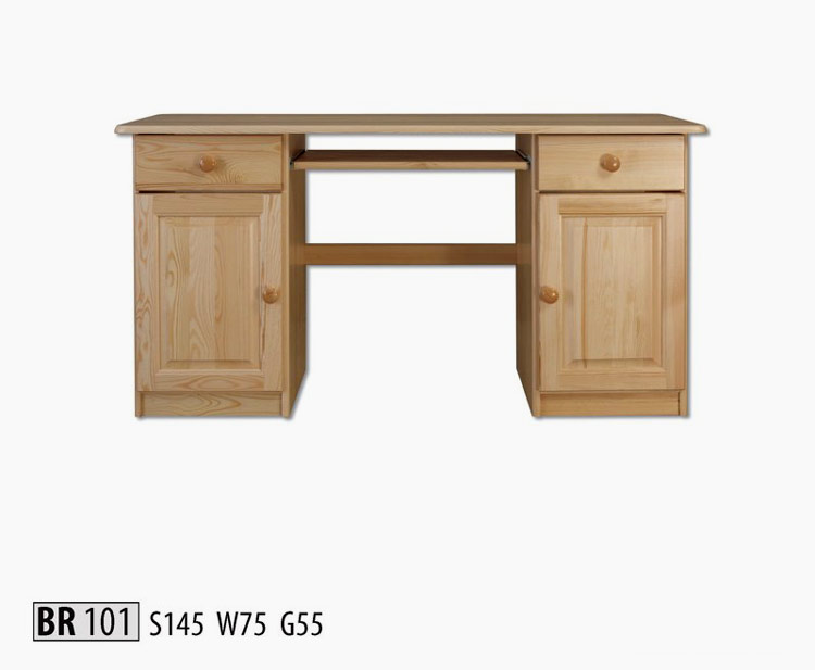 BR101 Písací stôl z masívneho borovicového dreva. Vhodný do pracovne. Farebné prevedenie: prírodná borovica. Možnosť namorenia na odtieň dub, jelša a orech za 10%-ný príplatok. Cena: 204 EUR
