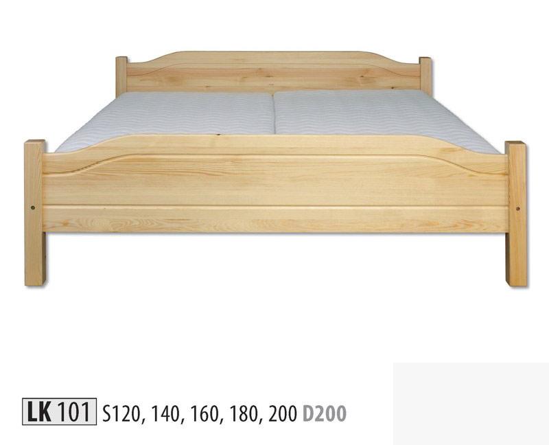 LK101 Posteľ - korpus šírka 120 cm. Posteľ z masívneho dreva. Farebné prevedenie: prírodná borovica. Možnosť namorenia na odtieň jelša, dub a orech za 10%-ný príplatok. Možnosť doobjednať rošt a matrac. Cena: 139.7000 EUR