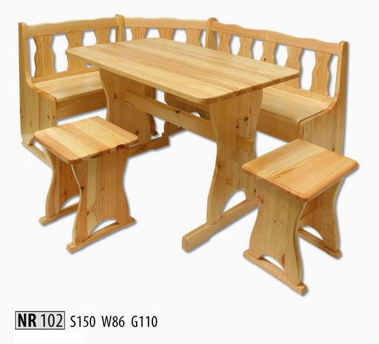 NR102 Jedálenský set z masívneho borovicového dreva. Vhodná do kuchyne alebo jedálne. V cene rohová lavica, stôl a dve stoličky bez operadla. Farebné prevedenie: prírodná borovica. Možnosť namorenia na odtieň dub, jelša a orech za 10%-ný príplatok. Pozor!!! Produkt má špeciálnu povrchovú úpravu na ochranu proti škodcom. Preto v prípade ak máte záujem o produkt, ktorý chcete dodatočne namoriť, treba v objednávke uviesť: