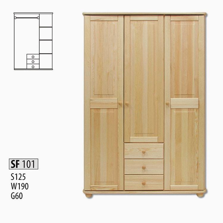SF101 Šatná skriňa 3-dverová z masívneho borovicového dreva. Farebné prevedenie: prírodná borovica. Možnosť namorenia na odtieň dub, jelša alebo orech za 10%-ný príplatok. Cena: 480 EUR