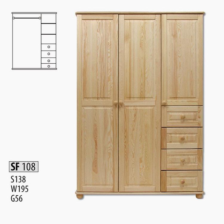 SF108 Šatná skriňa 3-dverová z masívneho borovicového dreva. Farebné prevedenie: prírodná borovica. Možnosť namorenia na odtieň dub, jelša a orech za 10%-ný príplatok. Cena: 520 EUR