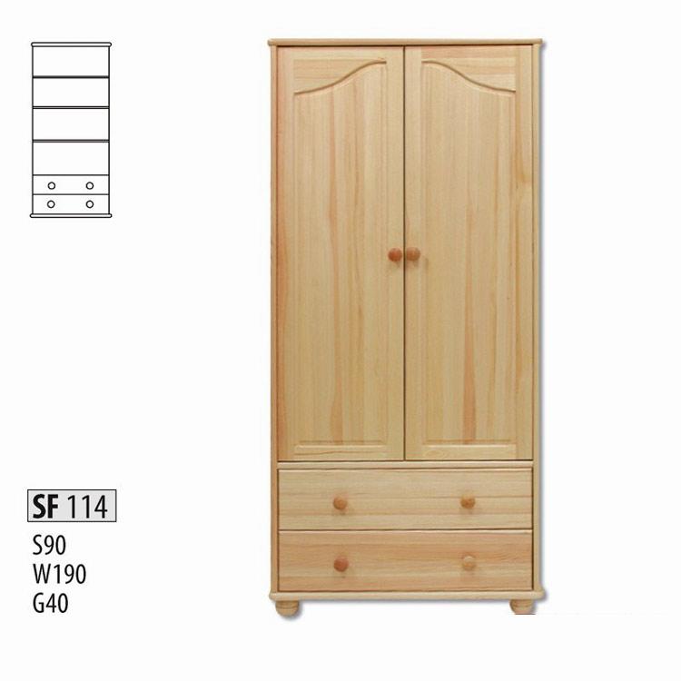 SF114 Skriňa 2-dverová z masívneho borovicového dreva. Farebné prevedenie: prírodná borovica. Možnosť namorenia na odtieň dub, jelša a orech za 10%-ný príplatok. Cena: 310 EUR