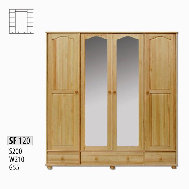 SF120 Šatná skriňa 4-dverová so zrkadlom z masívneho borovicového dreva. Farebné prevedenie: prírodná borovica. Možnosť namorenia na odtieň dub, jelša a orech za 10%-ný príplatok. Cena: 725 EUR