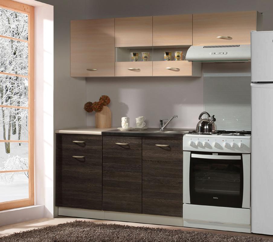 Kuchynská zostava DOBLIN 190. Korpus skriniek je vo farbe biela, spodné skrinky majú dvierka a čielka zásuviek vo farbe arusha, dvierka horných skriniek majú farbu dub luxor.  Táto kuchyňa je navrhnutá tak, aby sa skrinky dali poskladať v ľubovoľnom poradí.V zostave sú skrinky:- 1x dolná 50- 1x drezová 80- 1x horná 50- 1x horná 80- 1x digestorováV cene je zahrnutá pracovná doska 50 cm, drezová skrinka nemá pracovnú dosku. Horné skrinky majú výšku 57 cm, spodné sú vysoké 82 cm. Odporúčame zakúpiť celoplošný drez INTL1B1D (šír./hlb. v cm: 80/60), viď sekcia