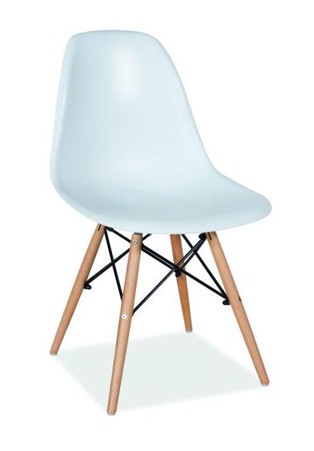 Dizajnová stolička MODERA. Sedacia časť je z odolného bieleho plastu. Nožičky sú z prírodného dreva vo farbe buk. Stolička je dostupná aj v ďalších farbách. Stolička sa hodí do kaviarní, galérií, študentských klubov, na balkón či terasu. Dodávame v demonte. Rozmery stoličky:Celková výška stoličky: 83 cmVýška sedáku: 43 cmHĺbka sedáku: 42 cmŠírka sedáku: 46 cm Cena: 37 EUR