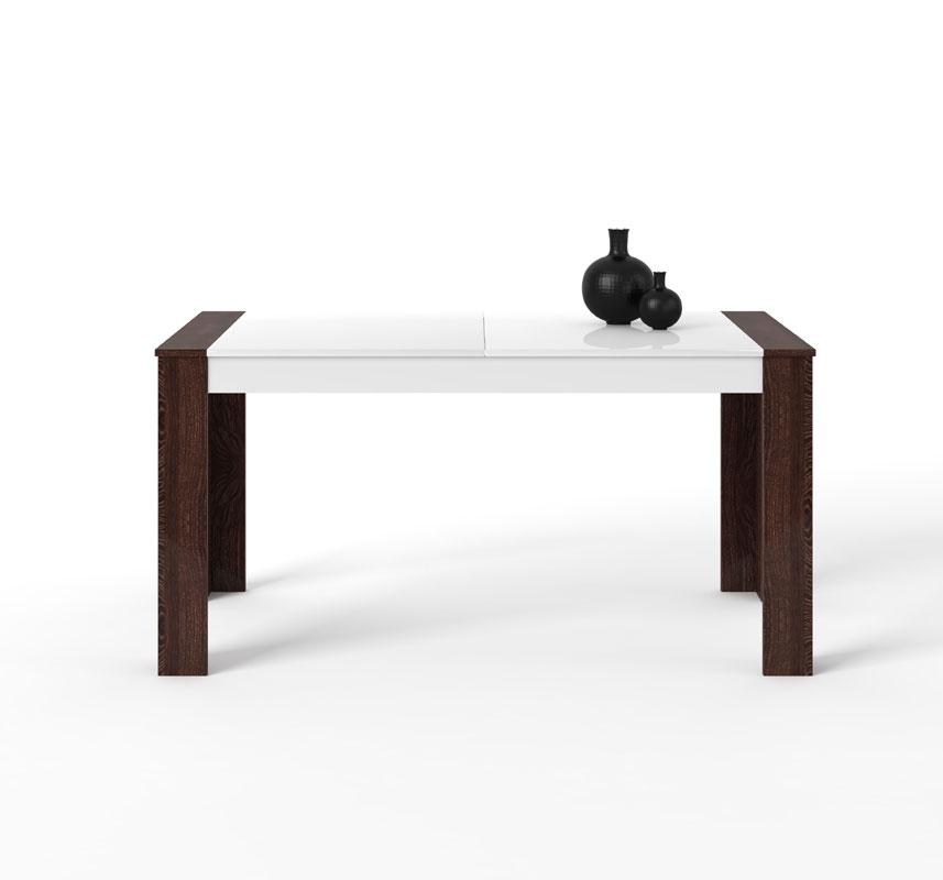 Moderný rozkladací jedálenský stôl ETA v dvojfarebnom prevedení. Nožičky stola sú v prírodnej farbe dub canterbury, zvyšok je bielej farbe. Je vyrobený z kvalitného lamina, ktoré sa ľahko udržiava. Možnosť rozšírenia až o 50 cm. Rozmer (v/š/h) 80 x 160-210 x 90 cm. Dodávame v demonte. Stôl odporúčame ku modernej obývacej stene ETA. Cena: 177.6000 EUR