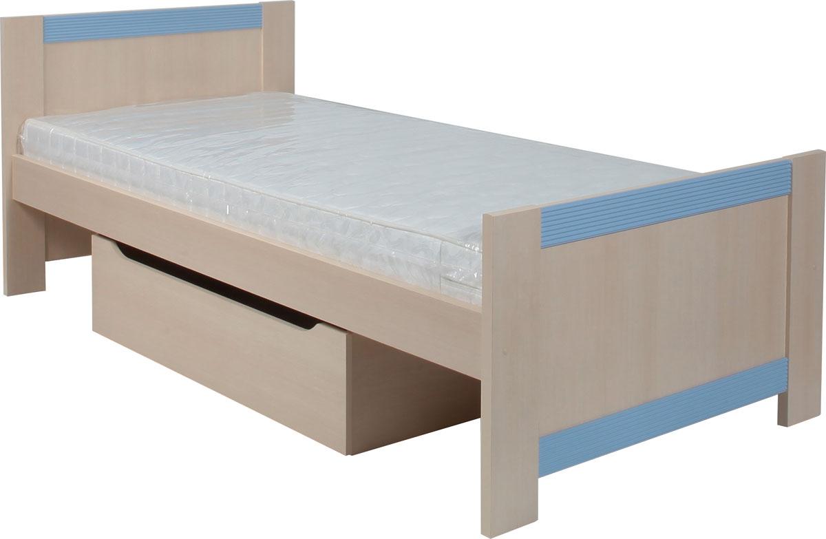 Posteľ s úložným priestorom FANFARA 90x200 cm. V cene postele je zásuvka aj rošt. Matrac s rozmermi 90x200 cm je potrebné doobjednať. Ozdobné, charakteristické frézovanie lišty z MDF farebne zladené s úchytami. Zásuvka je bez úchytov. Na výber máte tri farby dekoru: ružová, modrá alebo vanilka. Výhodou detského sektoru je, že zakúpením viacerých elementov získate krásnu detskú izbu. Materiál je LTD. Dodávané v demonte. Cena: 135 EUR