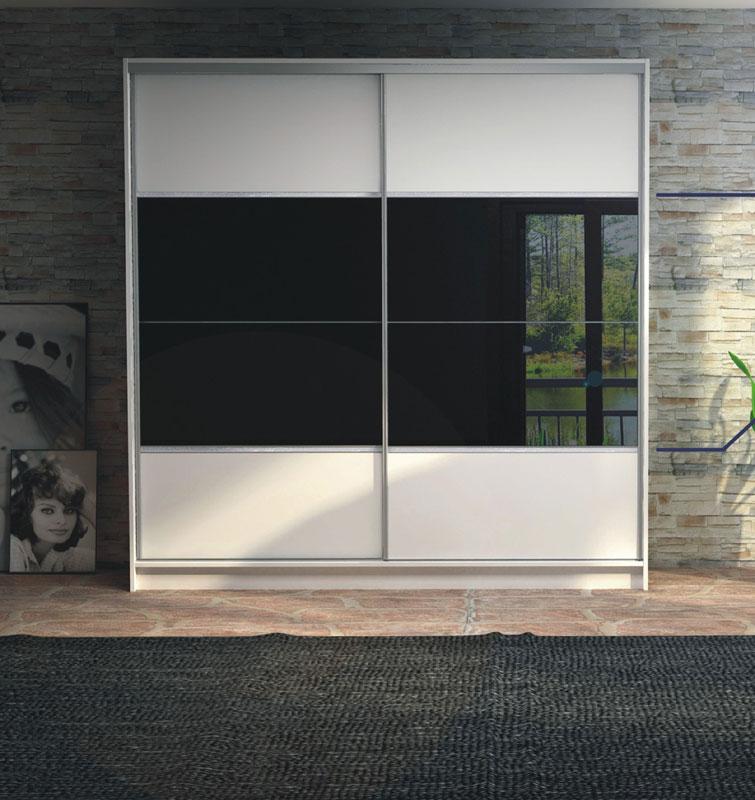 Moderný dizajn a praktické riešenie, to je šatníková skriňa HERA. Vo vnútri skrine sú police i vešiakové tyče. Na dvierkách je umiestnené čierne sklo, ktoré dodáva skrini jediničný vzhľad. Korpus i dvierka sú vyrobené z lamina v bielej farbe. Systém posuvných dverí s hliníkovou lištou, kovanie Sevroll. Rozmer (v/š/h) 220 x 226 x 64 cm. Dodávame v demonte. Cena: 432.4000 EUR