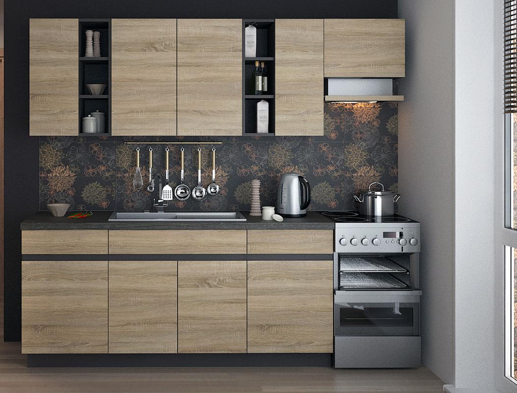 Kuchynská zostava LIZA 180 vo farebnom prevedení dub sonoma/lava. Korpus skriniek je vo farbe lava, dvierka a čielka zásuviek sú v sonome. Táto kuchyňa je navrhnutá tak, aby sa skrinky dali poskladať v ľubovoľnom poradí.V zostave sú skrinky:- 2x dolná 50- 1x drezová 80- 2x horná 50- 1x horná 80V cene nie je zahrnutá pracovná doska, digestorová skrinka ani drez, je možné ich dokúpiť za príplatok.Odporúčame zakúpiť celoplošný drez INTL1B1D (šír./hlb. v cm: 80/60), viď sekcia
