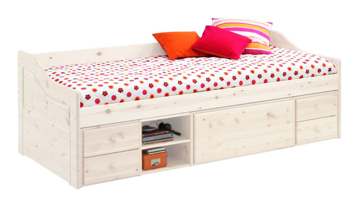 Kvalitná detská posteľ MELANIA z masívneho borovicového dreva. Je farbená na bielo, na nábytku je ale vidieť prírodné sfarbenie dreva (nie je dôvod na reklamáciu). Súčasťou postele je praktický úložný priestor. Rozmer 69 x 96 x 205 cm. V cene postele nie je rošt a ani matrac, je potrebné ich dokúpiť. Vhodný rozmer je 90 x 200 cm. Dodávame v demonte. Cena: 327.9000 EUR