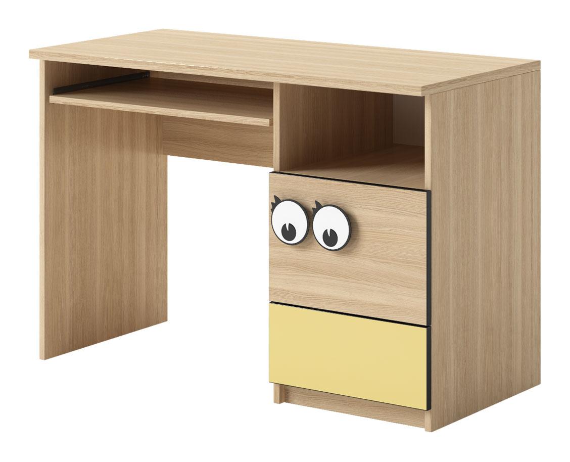 Pracovný stôl OC-10 zo systému detského nábytku OČKO. Je vybavený praktickou výsuvnou plochou na klávesnicu, dvierkami, zásuvkou a otvoreným úložným priestorom. Hrava kombinácia prírodného odtieňu dub nova a veselej žltej farby. Vďaka neutrálnemu farebnému prevedeniu je nábytok vhodný rovnako pre chlapcov ako aj dievčatá. Je vyrobený z kvalitného lamina, úchytky sú z plastu. Rozmer stola (v/š/h) 75 x 110 x 53 cm. Ku stolu ponúkame policový nadstavec OC-11. Dodávame v demonte. Detský nábytok OČKO je charakteristický svojími úchytkami v tvare očí. Pozostáva zo 16 rôznych elementov. Z jednotlivých častí nábytku je možné zariadiť originálnu detskú či študentskú izbu podľa vlastných predstáv a potrieb. Cena: 74.3000 EUR