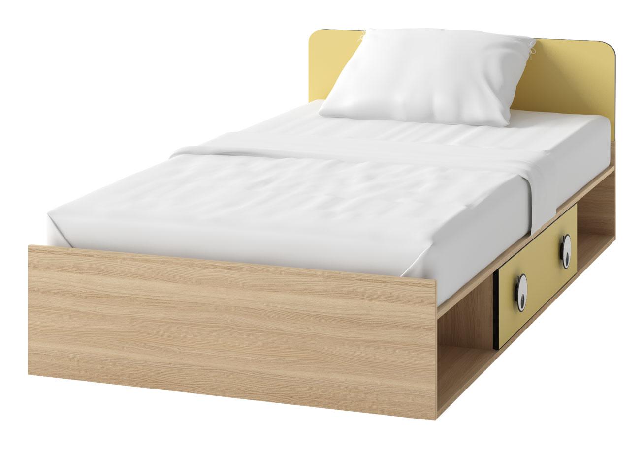 Akciová cena je za tovar skladom. Detská posteľ OC-16 zo systému detského nábytku OČKO. Posteľ je vybavená úložným priestorom. Súčastou postele je zdvíhací bonelový matrac na ráme. Hravá kombinácia prírodného odtieňu dub nova a veselej žltej farby. Vďaka neutrálnemu farebnému prevedeniu je nábytok vhodný rovnako pre chlapcov ako aj dievčatá. Je vyrobená z kvalitného lamina, úchytky sú z plastu. Rozmer postele (v/š/h) 70 x 93 x 204 cm. Ku posteli odporúčame dokúpiť zabezpečujúcu bariéru OC-16B. Dodávame v demonte. Detský nábytok OČKO je charakteristický svojimi úchytkami v tvare očí. Pozostáva zo 16 rôznych elementov. Z jednotlivých častí nábytku je možné zariadiť originálnu detskú či študentskú izbu podľa vlastných predstáv a potrieb. Cena: 149.9000 EUR