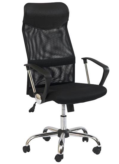 1KS SKLADOM! Q-025 kancelárske kreslo. Čalúnené kancelárske kreslo otočnou sedacou plochou a nastaviteľnou výškou pomocou plynového piestu. Výška sedu 45-53cm. Mesch čalúnenie.  Vysoké operadlo je čalúnené membránovou sieťkou s  koženkovou opierkou hlavy. V krížovej oblasti je vystužená bedrová opierka. Oceľový, pochrómovaný nosný kríž. Cena: 73.35 EUR
