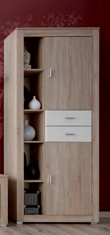 Vysoká skriňa SONOMA s 2 zásuvkami a 2 dvierkami. Príjemné farebné prevedenie dub sonoma je doplnené detailami v lesku vanilka. Skriňa je vyrobená z LTD dosky. Úchyty a nožičky sú z plastu vo farbe aluminium. Vo vnútri skrine je polica v hornej aj spodnej časti. Rozmer (v/š/h) 198 x 82 x 54 cm. Odporúčame ku obývacej stene SONOMA. Dodávame v demontovanom stave. Cena: 139.9000 EUR