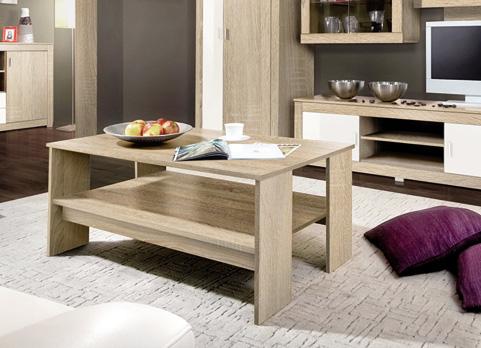Priestranný konferenčný stolík SONOMA. Oceníte jeho ľahkú údržbu vďaka použitej LTD dosky. Stôl je vybavený odkladacou policou. Farebné prevedenie dub sonoma.  Rozmer 110 x 70 x 48 cm. Odporúčame ku obývacej stene SONOMA. Cena: 39.9000 EUR