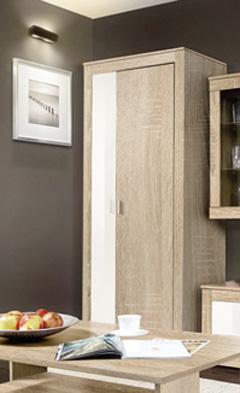 Vysoká šatníková skriňa SONOMA vhodná do obývačky, spálne či predsiene. Príjemné farebné prevedenie dub sonoma doplnený detailami v lesku vanilka. Skriňa je vyrobená z LTD dosky. Úchyty a nožičky sú z plastu vo farbe aluminium. Vo vnútri skrine je vešiaková tyč. Rozmer (v/š/h) 195 x 80 x 50 cm. Odporúčame ku obývacej stene SONOMA. Cena: 129.9000 EUR