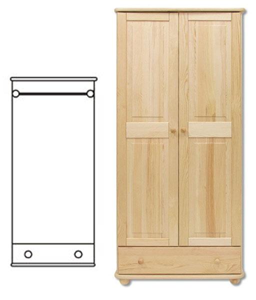2-dverová šatná skriňa so zásuvkou z masívneho borovicového dreva! Farebné prevedenie - prírodná borovica. Možnosť namorenia na odtieň dub, jelša alebo orech za 10%-ný príplatok. Pozor!!! Produkt má špeciálnu povrchovú úpravu na ochranu proti škodcom. Preto v prípade ak máte záujem o produkt, ktorý chcete dodatočne namoriť, treba v objednávke uviesť: