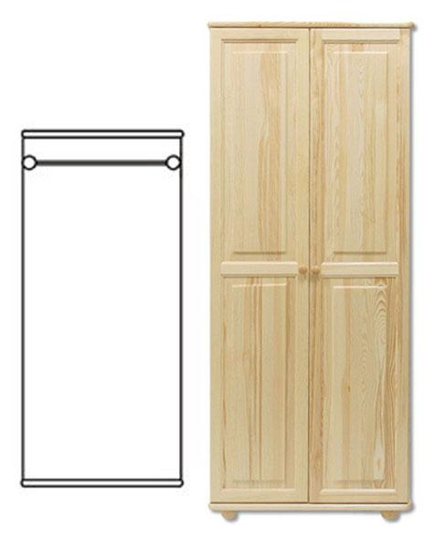 2-dverová šatná skriňa so závesnou tyčou z masívneho borovicového dreva! Farebné prevedenie - prírodná borovica. Možnosť namorenia na odtieň dub, jelša alebo orech za 10%-ný príplatok. Pozor!!! Produkt má špeciálnu povrchovú úpravu na ochranu proti škodcom. Preto v prípade ak máte záujem o produkt, ktorý chcete dodatočne namoriť, treba v objednávke uviesť: