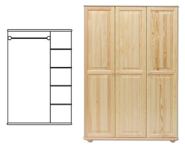 Skladom borovica. Akciová cena je za tovar skladom. 3-dverová šatná skriňa s kombinovaným závesným a regálovým systémom ukladania vecí. Vyrobené z masívneho borovicového dreva! Farebné prevedenie - prírodná borovica. Možnosť namorenia na odtieň dub, jelša a orech za 10%-ný príplatok. Pozor!!! Produkt má špeciálnu povrchovú úpravu na ochranu proti škodcom. Preto v prípade ak máte záujem o produkt, ktorý chcete dodatočne namoriť, treba v objednávke uviesť: