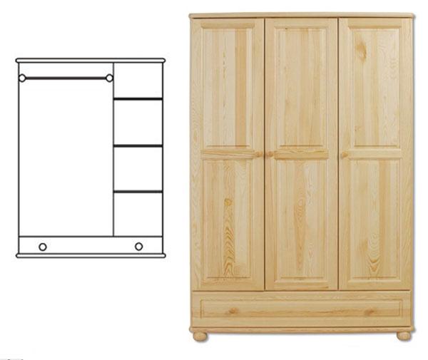 3-dverová šatná skriňa so spodnou zásuvkou. Kombinované závesné a regálové ukladanie vecí. Vyrobené z masívneho borovicového dreva! Farebné prevedenie - prírodná borovica. Možnosť namorenia na odtieň dub, jelša a orech za 10%-ný príplatok. Pozor!!! Produkt má špeciálnu povrchovú úpravu na ochranu proti škodcom. Preto v prípade ak máte záujem o produkt, ktorý chcete dodatočne namoriť, treba v objednávke uviesť: