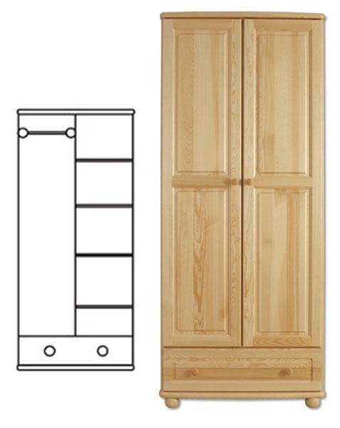 2-dverová šatná skriňa so zásuvkou. Vyrobené z masívneho borovicového dreva! Farebné prevedenie - prírodná borovica. Možnosť namorenia na odtieň dub, jelša a orech za 10%-ný príplatok. Pozor!!! Produkt má špeciálnu povrchovú úpravu na ochranu proti škodcom. Preto v prípade ak máte záujem o produkt, ktorý chcete dodatočne namoriť, treba v objednávke uviesť: