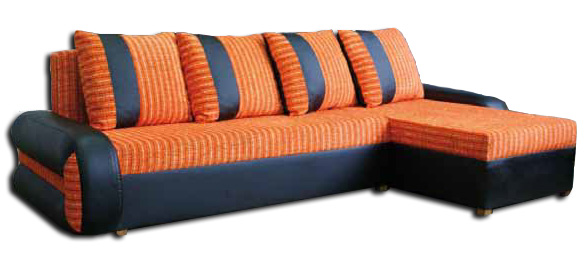 Dizajnová rohová sedačka TIKO 1. Sedačka je rozkladacia. Ložná plocha po rozložení je 125 x 205 cm. Rozmer š/h/v 240 x 135 x 75 cm. Farebné prevedenie je také ako na obrázku, boky ekokoža + sedák oranžový šenil. Vyberte si umiestnenie rohu.V ponuke aj prevedenie TIKO 2 čierna ekokoža + sivý Berlin. Cena: 249.9000 EUR