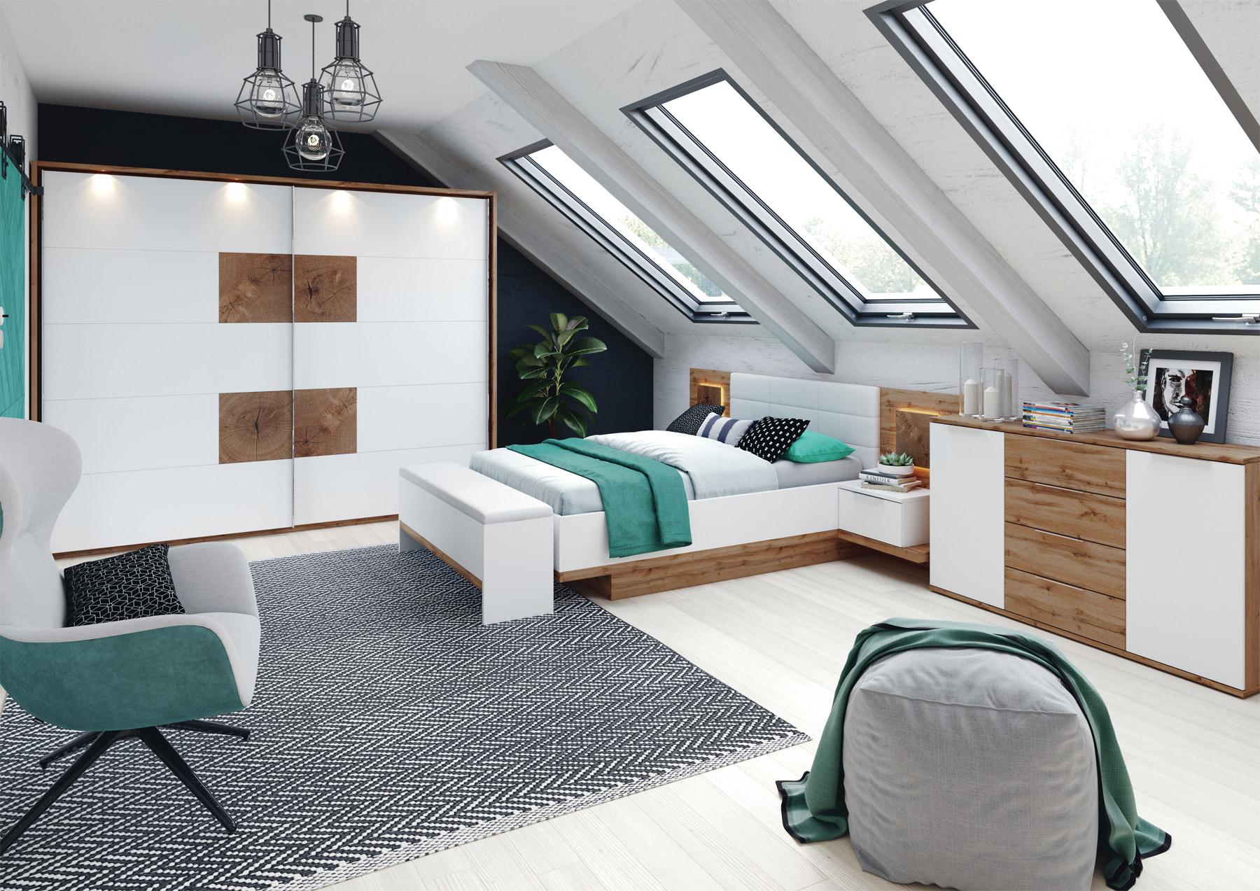 LIVIGNO spálňa, dub wotan/biela