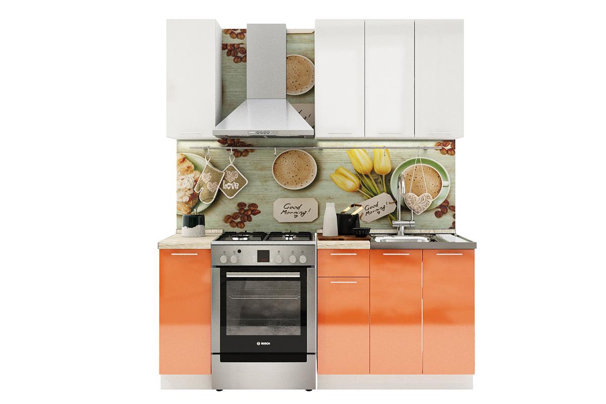 Kuchynská zostava VALENCIA 120 biely lesk/oranžový lesk