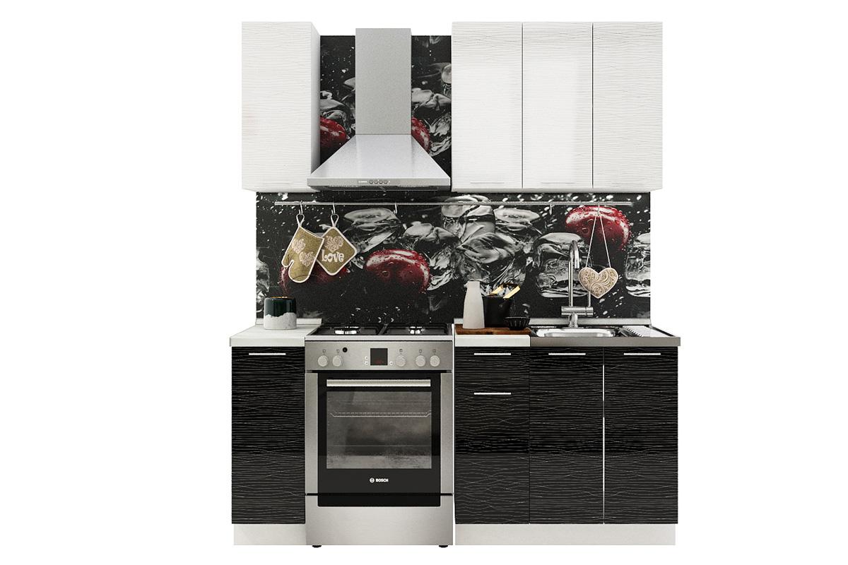 Kuchynská zostava VALENCIA 120 biely stripe/čierny stripe