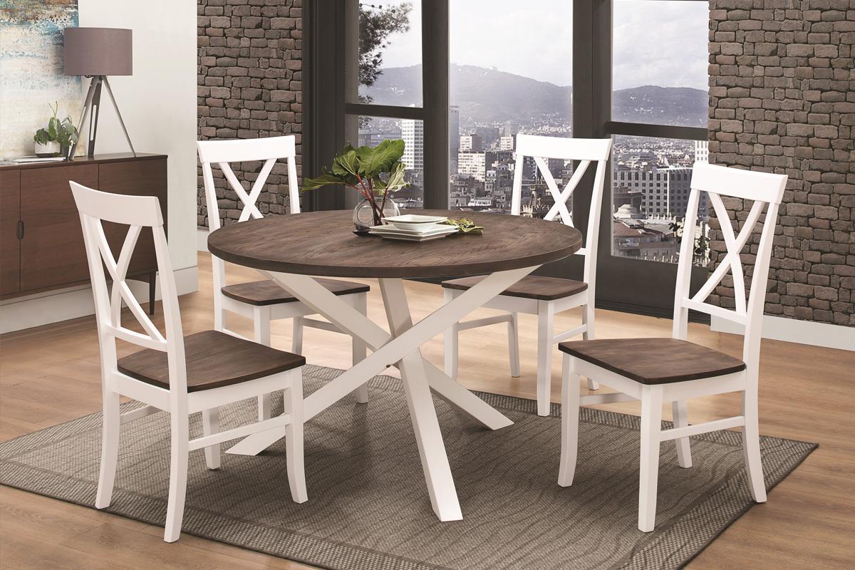 VerDesign, GRENADA drevený jedálenský stôl, biela/ wenge