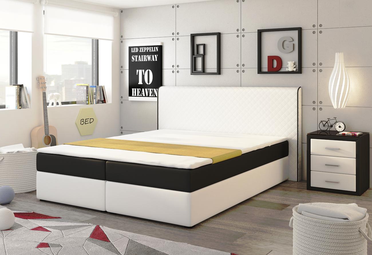EKO SPRING posteľ 180 biela/čierna