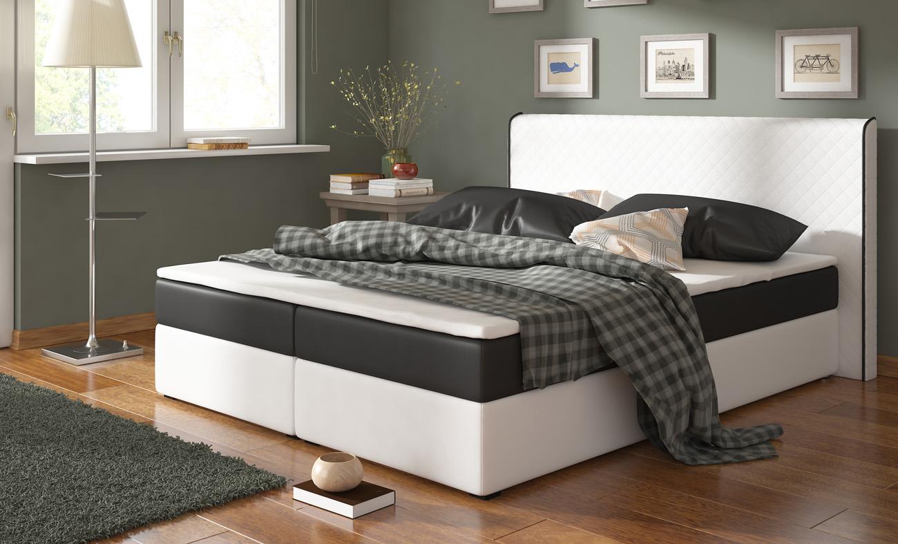 BERGANO/EKO SPRING posteľ 180 biela/čierna