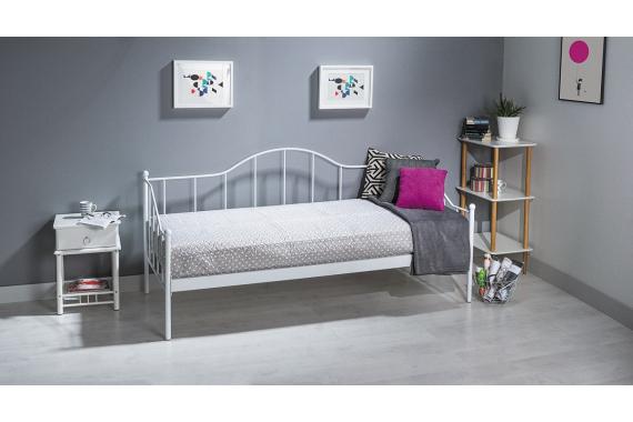 CALAIS kovová posteľ 90x200 cm, biela