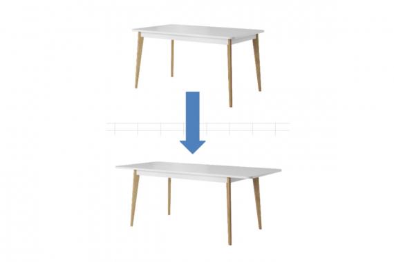 Rozkladací stôl NORD PST140, biely lesk