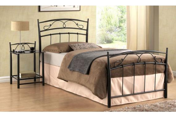 Kovová posteľ SEINA 90x200, čierna