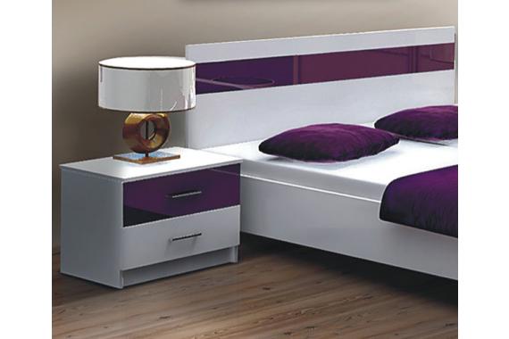 DUBLIN nočný stolík, biela/fialová