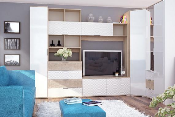 TARRA obývacia stena na mieru, dub sonoma/biely lesk