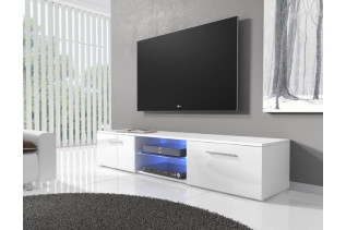 NIKI moderný stolík RTV3, biela/biely lesk
