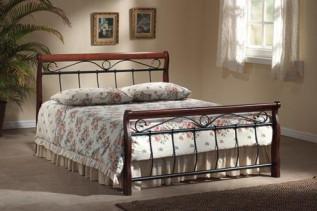 VENECJA posteľ 2-OS, čerešňa antická/ čierny kov