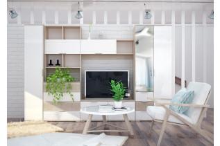 TARRA obývacia stena, dub sonoma/biely lesk