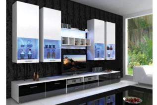LUMA, moderná obývačka biela/čierna lesk
