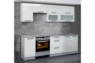 Kuchyňa ANDY 240 cm, biely lesk