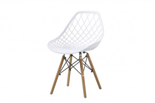 RIANA plastová stolička, biela/buk