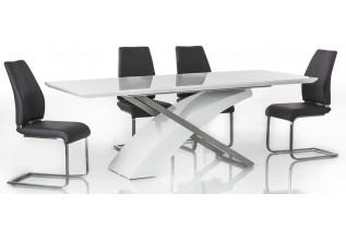 Jedálenský stôl ATRIS, biely lesk