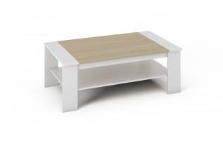 BARNY konferenčný stolík biela a dub sonoma